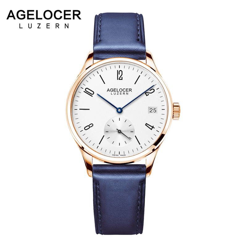 AGELOCER Fashion Golden Ladies Watch Women Leather Wrist Watches Automatic Gold Clock Saat Relogio Feminino bayan kol saati retro design leather band analog alloy quartz wrist watch relogio feminino women watches reloj mujer bayan kol saati