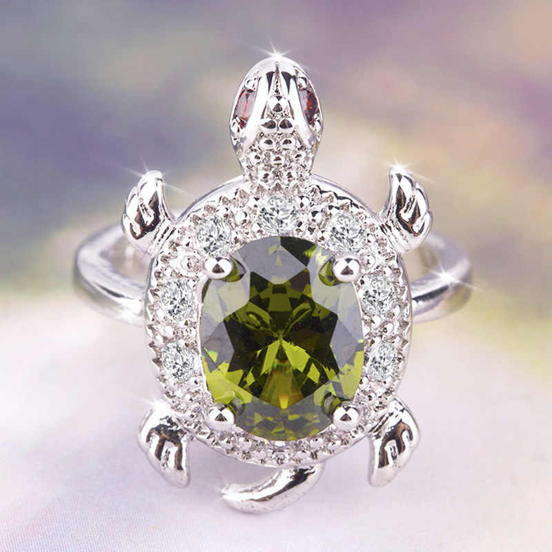 Female Big Olive Green Turtle Ring Retro 925 Silver Crystal Zircon Stone Rings For Women Wedding Jewelry Valentine's Day Gift