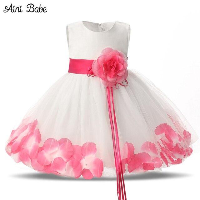 Aini Babe flores bebé vestido para 1 año de fiesta de cumpleaños ...