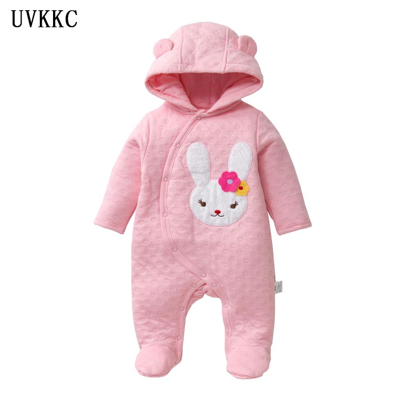 UVKKC Brand Newborn Baby girls rompers winter Children clothes long sleeve jumpsuits boys cotton Cute Cartoon rabbit Pajamas unisex baby boys girls clothes long sleeve polka dot print winter baby rompers newborn baby clothing jumpsuits rompers 0 24m