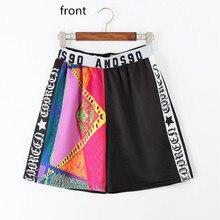 Solo ¡! nunca Kawaii harajuku mujeres verano Harem pantalones cortos cintura elástica estampado negro amarillo Hip Hop Streetwear mujeres pantalones cortos de algodón