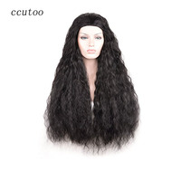 Ccutoo 30 Anime Long Curly Black Cosplay Full Wig For Halloween Synthetic Hair Heat Resistance Fiber