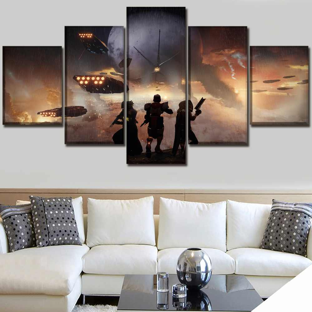 Canvas Home Wall Art Decor Framework HD Print Poster 5 Pieces Game Play Destiny 2 Painting For Living Room Decor Modular Picture