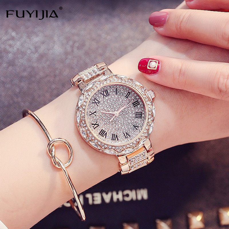 New Women's Watch FUYIJIA Luxury Quartz Watch Ladies Diamond Band Bracelet Watch Roman Digital Scale Lady Dress Waterproof Watch цена