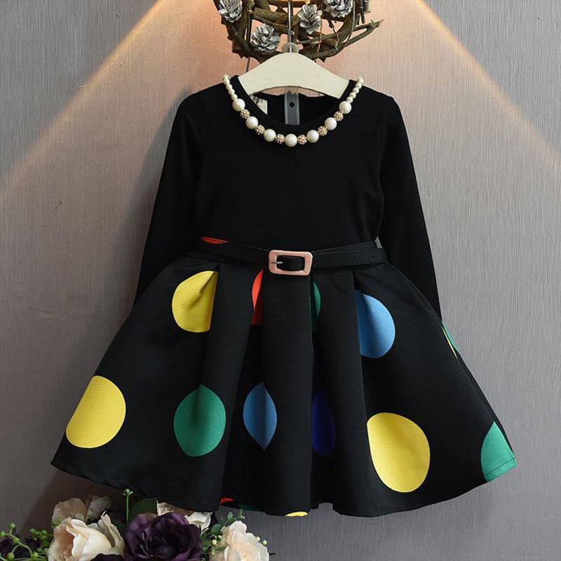 autumn/winter girls dress black full sleeve dot printed princess dress for little girl outwear clothes children and kids clothes new fashion autumn winter girl dress polka dot