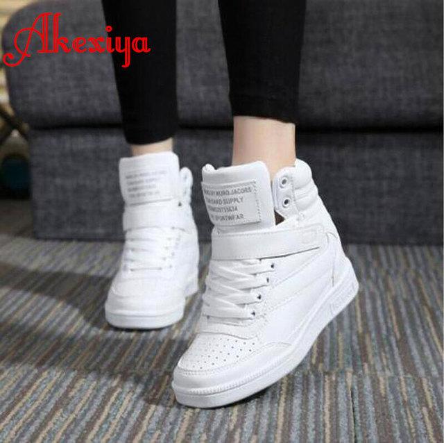 Nuevo 2017 del otoño del resorte botines zapatos de tacones de las mujeres zapatos casuales altura aumento high top zapatos botas de Invierno color mezclado