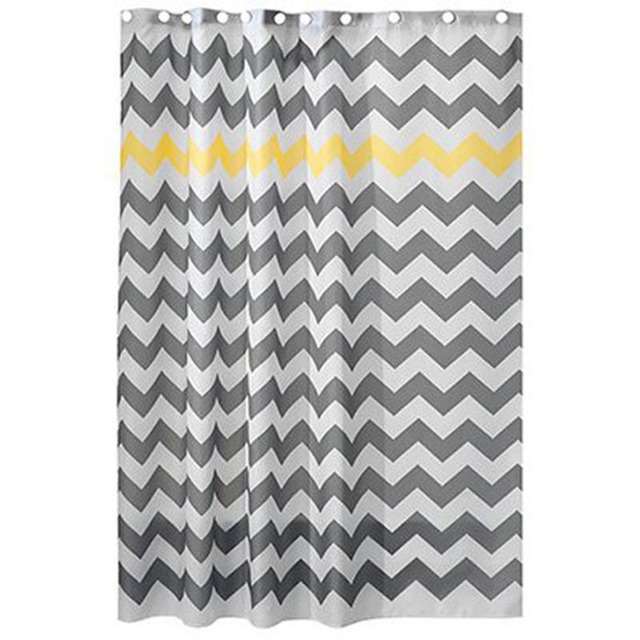 180X180CM Designer Wave Chevron Polyester Shower Curtains Liners ...