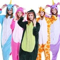 2017 Unisex Adult Winter Pajamas Unicorn Animal Pajama Sets Sexy Hooded Homewear Flannel Sleepwear Female Cute