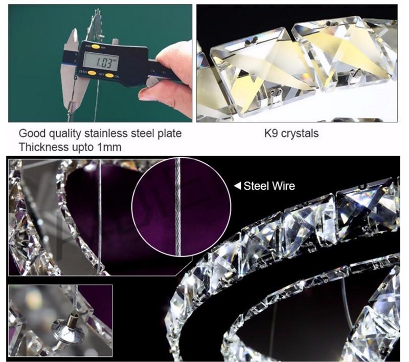 Modern luxury atmosphere living room room lights 3 ring diamond ring crystal chandelier 65W LED K9 luster crystal lamp