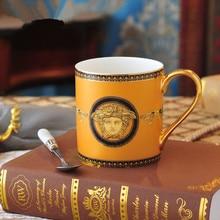 Кофейная кружка из фарфора в европейском стиле с золотыми костями, Высококачественная ложка с ручной росписью, керамические золотистые чашка для завтрака