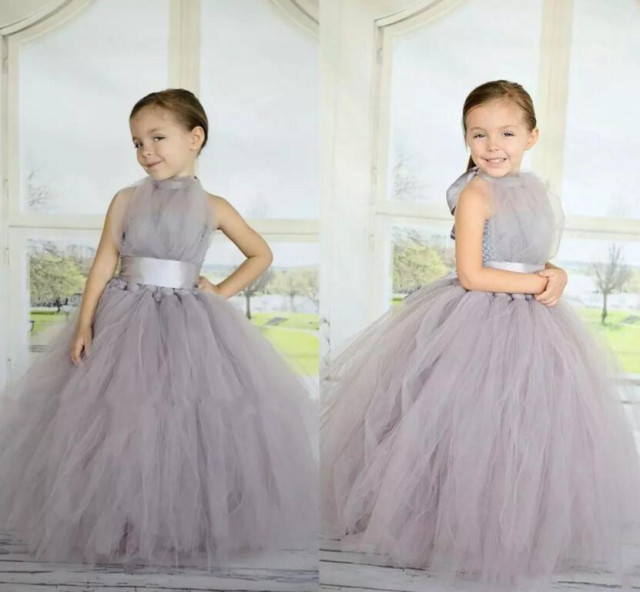 Ball Gown Grey Flower Girl Dresses Puffy Tulle with Sash Floor Length Little  Girls Pageant Gown Birthday Party Dress Custom Made b7ba3f8fd