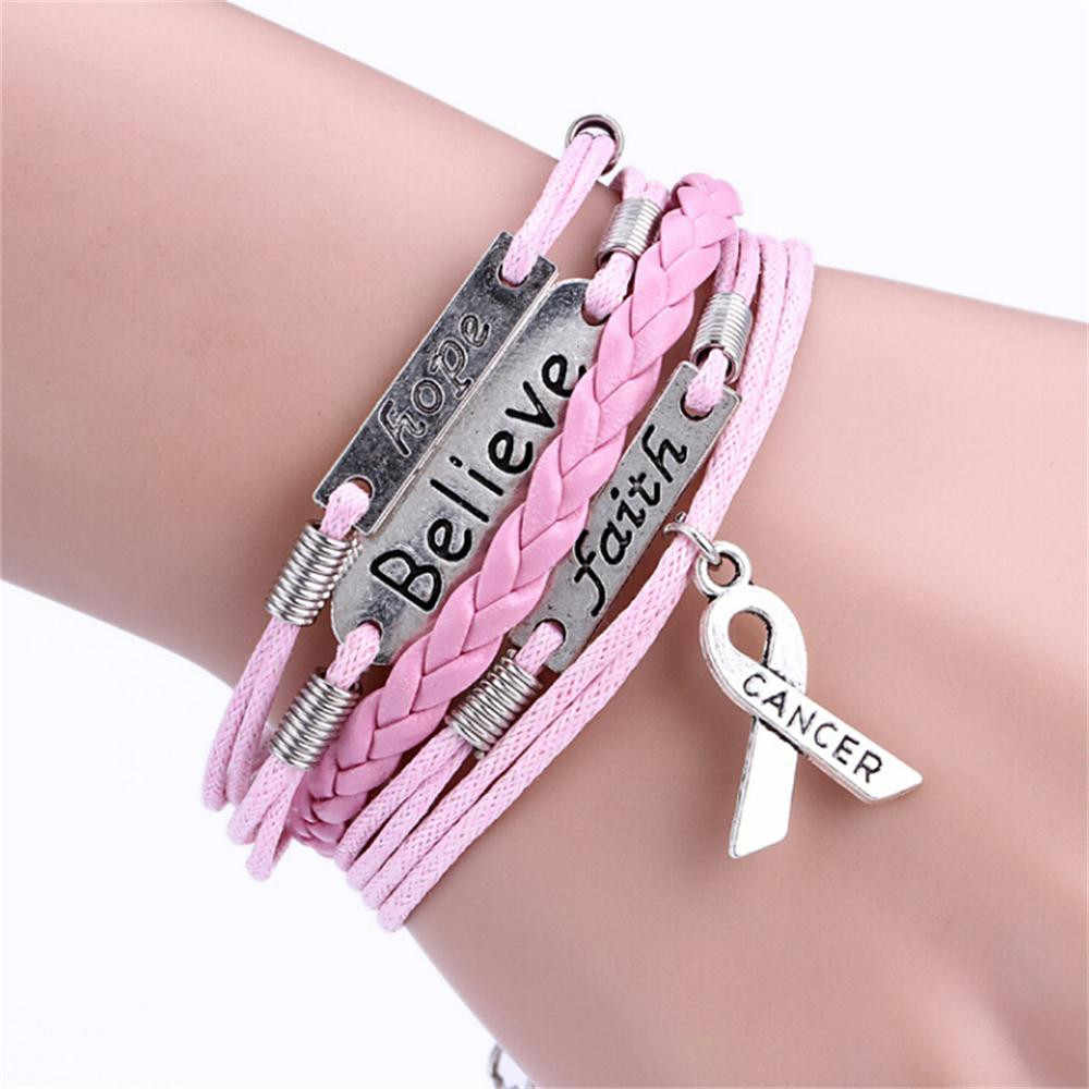 Multi-layer Leather Rope Handmade Pink Ribbon Breast Cancer Awareness Bracelet10.19