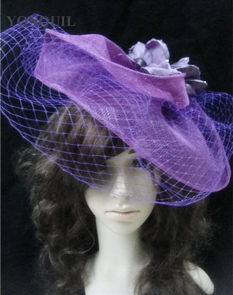 High Quality Sinamay Big Kentucky Derby Fascinator Hats Silk Flower