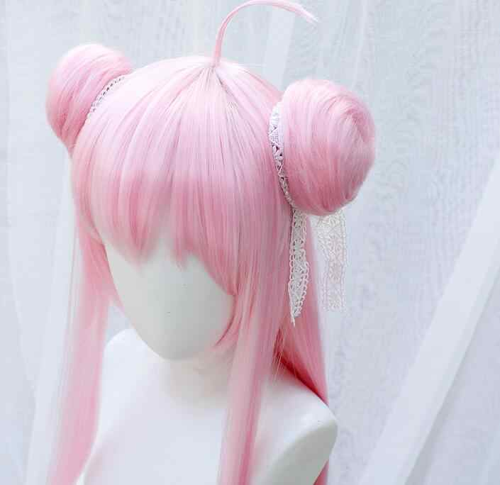 Anime Happy Sugar Life Satou Matsuzaka Pelo Largo recto + bollos Rosa Cosplay Peluca de Halloween
