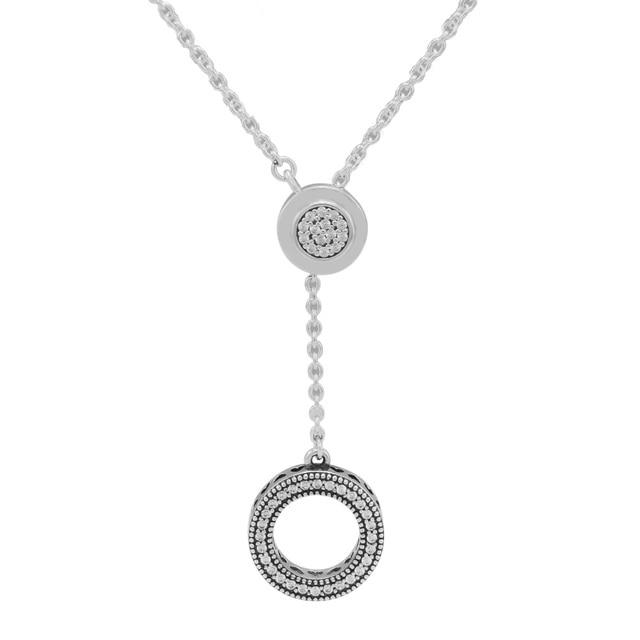 66e31bf1258 2018 Signature Round Pendant Necklaces Genuine 925 Sterling Silver Clear CZ  Necklaces & Pendants Original Jewelry Accessories
