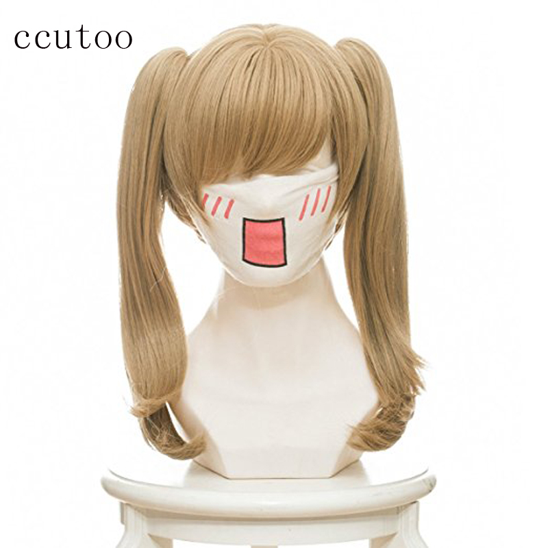 ccutoo OW D.va Black Cat Luna 18inch Blonde Synthetic Hair Cosplay Wig Chip Ponytails Heat Resistance Fiber