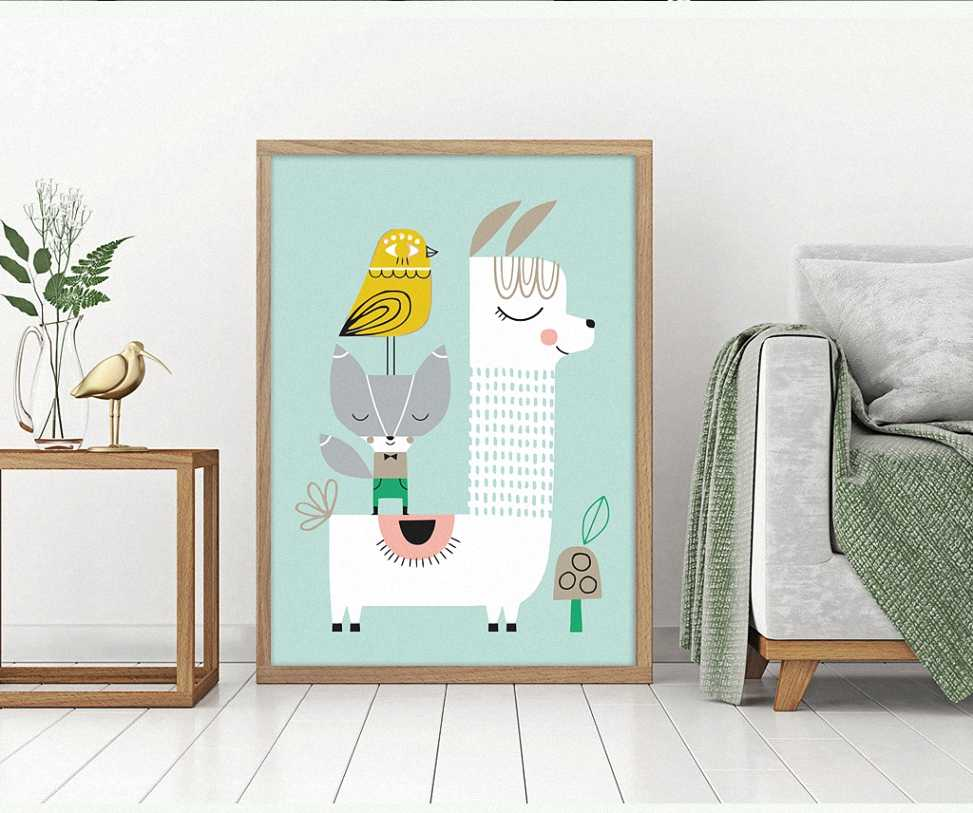 Animal Nordic Simple Style Lovely Cartoon Bird Fox Alpaca Poster Canvas Children's Bedroom Decoration Combined Poster For Gift