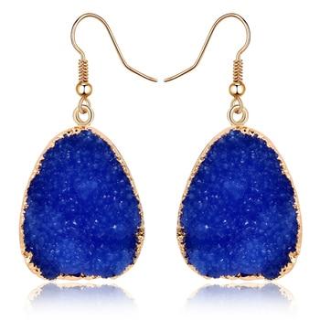 1Pair European Jewellery Colorful Water Drop Dangle Earings Pink Black Resin Stone Drusy Earrings For Women Jewelry E1356T1 1