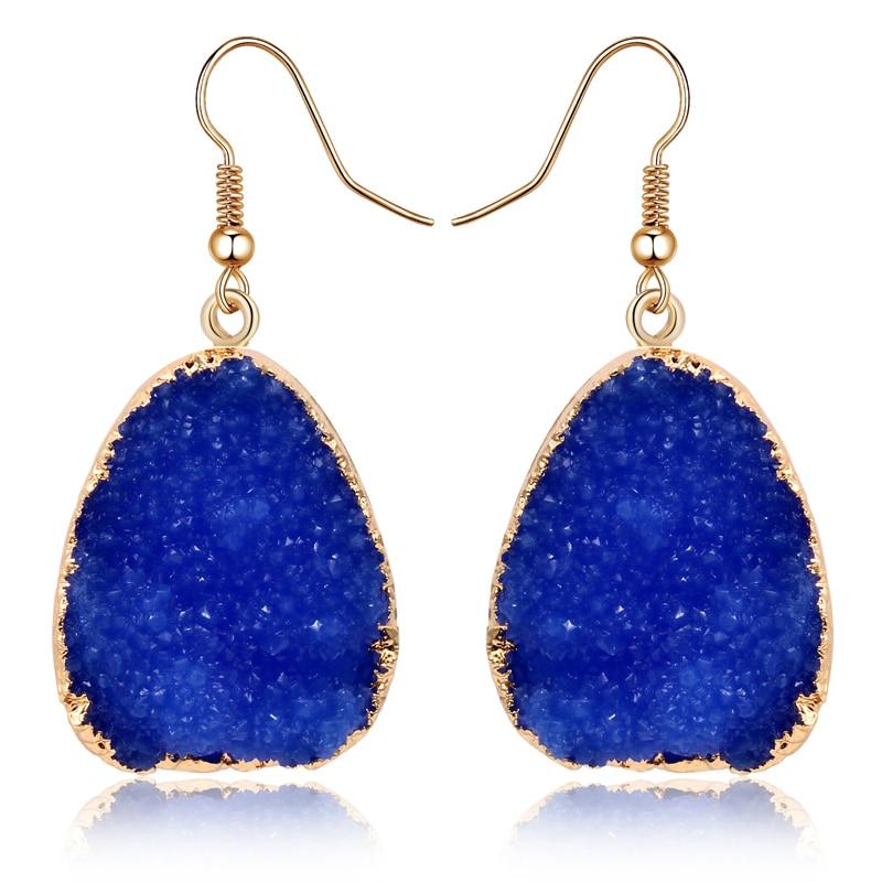 1Pair European Jewellery Colorful Water Drop Dangle Earings Pink Black Resin Stone Drusy Earrings For Women