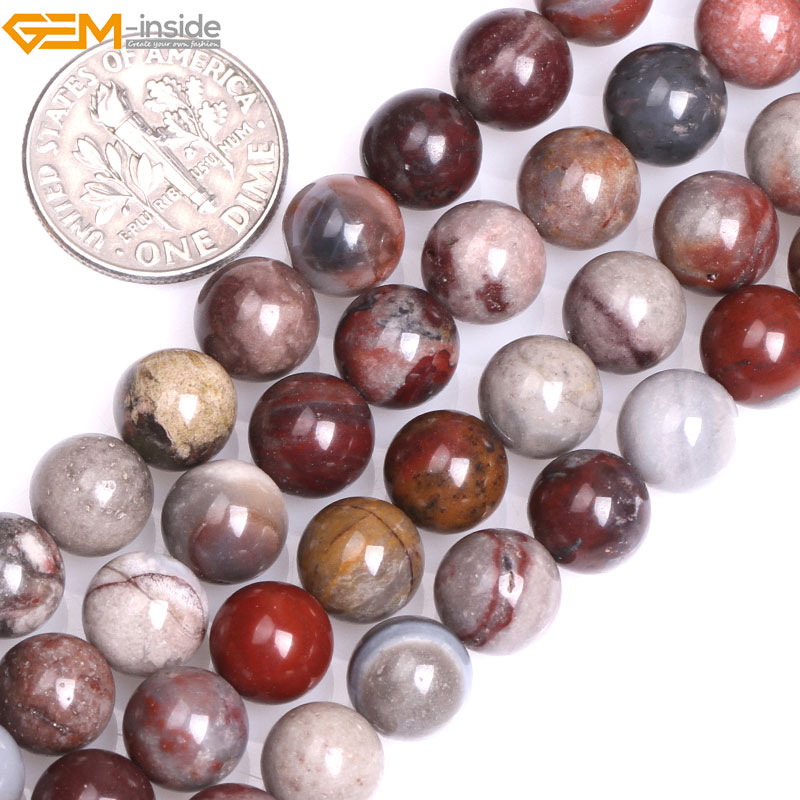 Gem-inside Natural Round Dark Red Fancy Fantasy Jasper Stone Beads for Jewelry Making 15inches DIY Christmas Jewellery