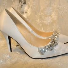 2016 Handmade Wedding Shoes Plus Size Satin  Pointed Toe Pumps High Heel Wedding Shoes White Color Rhinestone Bridal Dress Shoes
