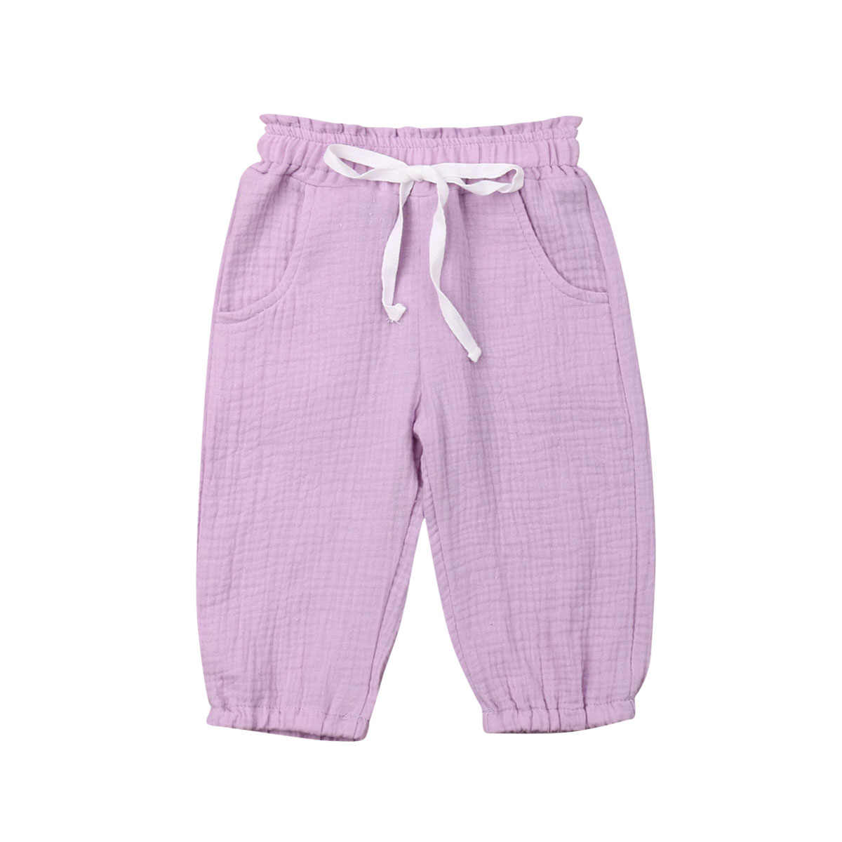 Toddler Baby Kids Girl Casual Pants Children Newborn Wrinkled Foam Cotton Bloomers Loose Summer Trousers