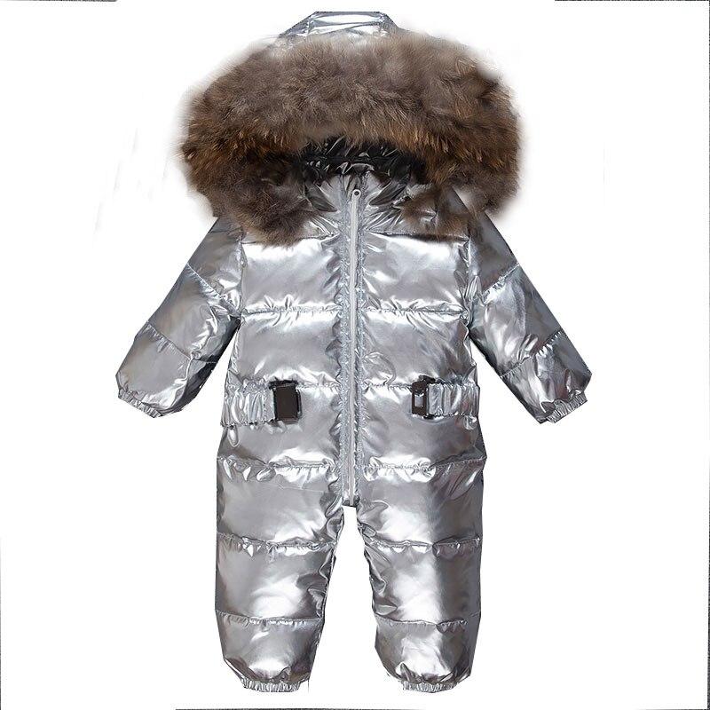 2019 de Pato Para Baixo Meninos Bebê Macacão Crianças Macacão de Inverno Com Capuz De Pele Quente Roupas Macacões infantis Meninas Snowsuit Unisex de Prata