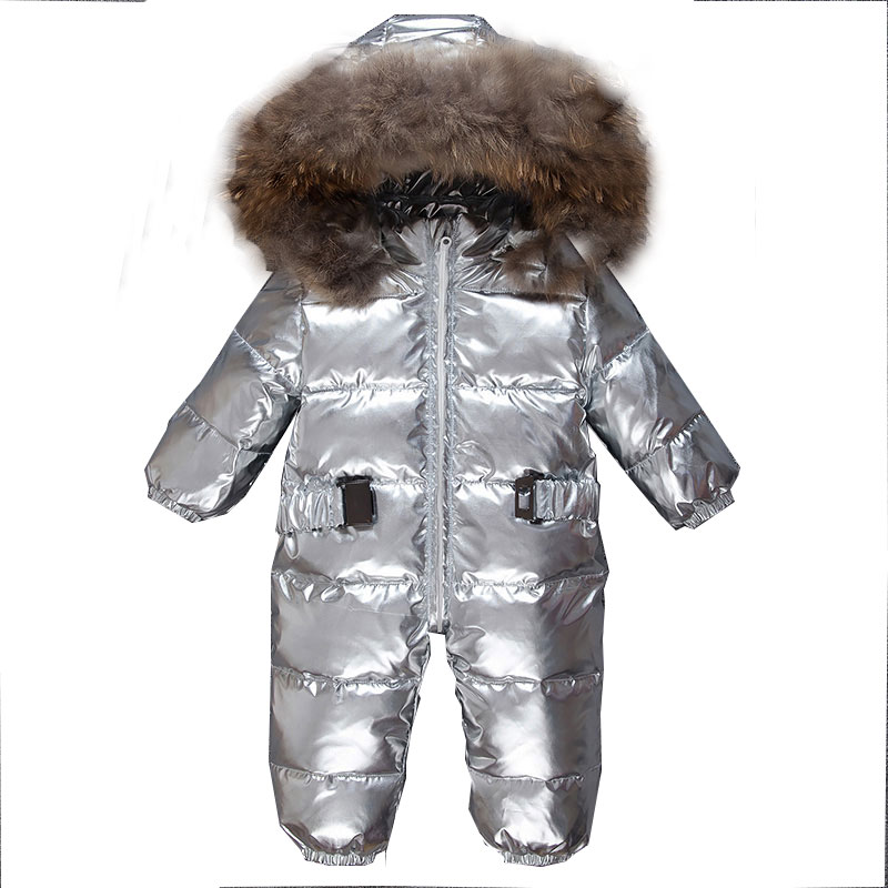 Mioigee  baby jumpsuit winter Rompers duck down girl rompers hooded children infant boy snowsuit overalls