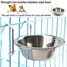 Hanging Pet Bowl Stainless Steel Food Water Feeder with Hook Cat Dog Cage