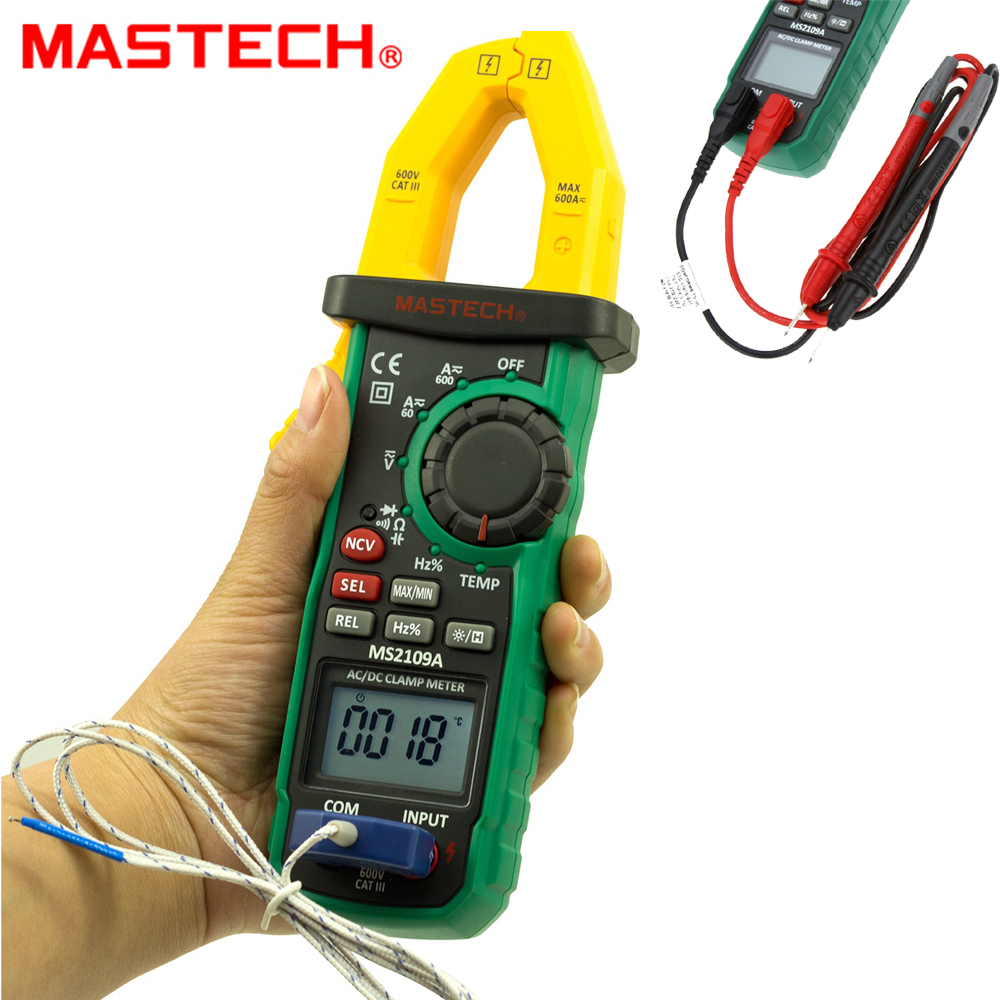 Mastech MS2109A True RMS Auto Range Digital AC DC Clamp Meter 600A Multimeter Volt Amp Ohm HZ Temp Capacitance Tester NCV Test