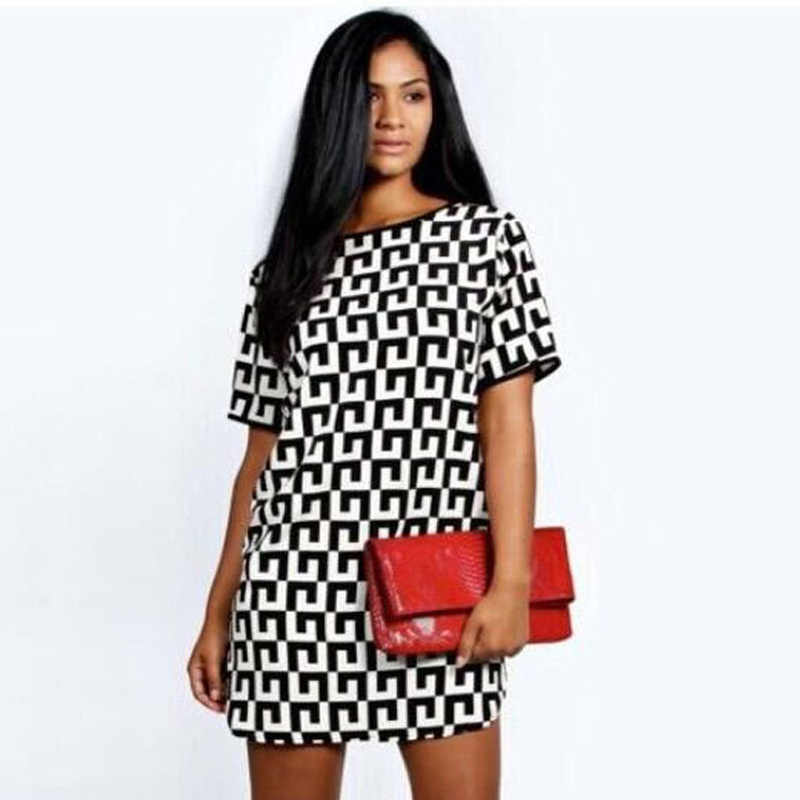 2019 New Summer Women beach Dress Fashion Short Sleeve black white Geometric Print Chiffon dress mini A-line Dress Casual