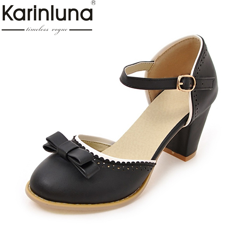 KarinLuna Big Size 32-43 Women Pumps Mary Jane buckle Strap Leisure Chunky Heel Shoes Fashion Summer bowtie Pumps odetina 2017 new summer ankle strap ballet flats buckle women mary jane shoes round toe casual flat shoes sweet big size 34 43