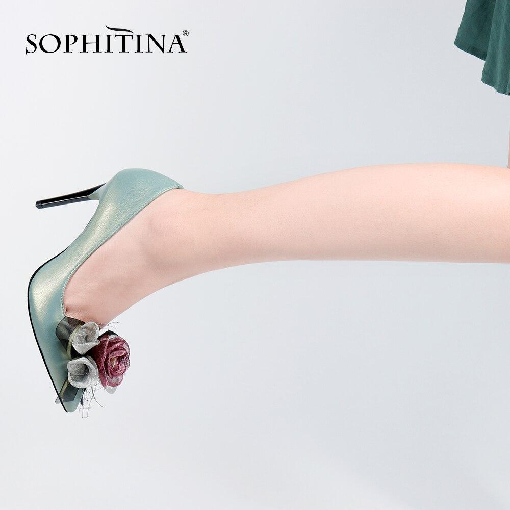 SOPHITINA Offre Spéciale Femme Pompe De Luxe En Cuir Véritable Talon Mince Chaussures De Fleur De Mode Décoration Élégante Parti Office Lady Chaussures W27