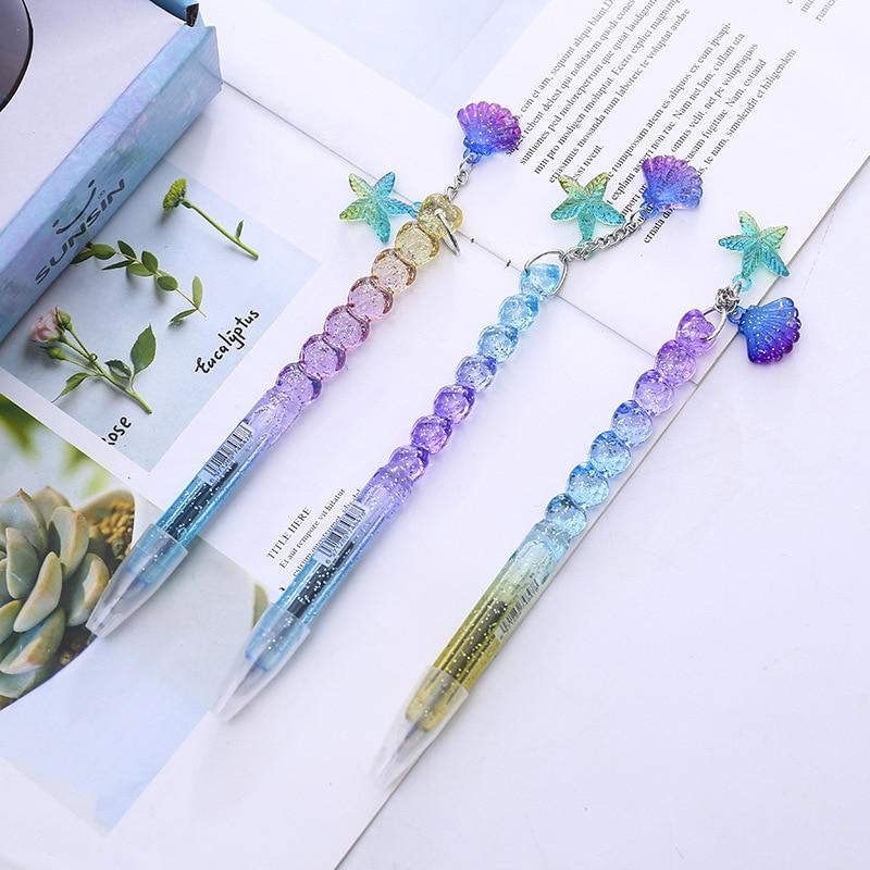 36 pcs lot Gradient Princess Shell Pendant Gel Pen Cute 0 5mm black ink Glitter Signature