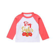41b52495a59d 2018 New Brand Floral Long Sleeve Family Matching Tops Little Big Sister  Romper T-shirt Newborn Baby Girls Clothes 0-6 T