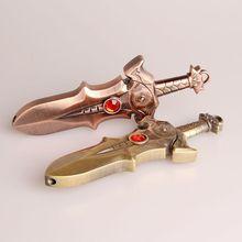 Isqueiro turbo com espada criativa, acessórios compactos para cigarros à prova de vento com jato butano a prova de vento