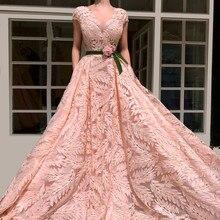 Nuevos vestidos de noche formales arábigo Rosa Vintage con cuello en V y manga Sexy noche alfombra roja vestidos de fiesta de graduación con fajas