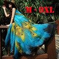 2017 M-9XL Длинные Плюс Размер Пляж Платья Для Отдыха Печати Павлина Bohemia Летом Dress Большой Размер Макси Dress 9XL 8XL 7XL 6XL 5XL