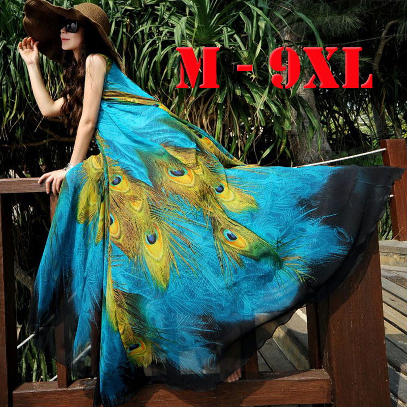 2018 M-9XL Long Plus Size Beach Dresses For Vacation Print Peacock Bohemia Summer Dress Big Size Maxi Dress 9XL 8XL 7XL 6XL 5XL men plus size 4xl 5xl 6xl 7xl 8xl 9xl winter pant sport fleece lined softshell warm outdoor climbing snow soft shell pant