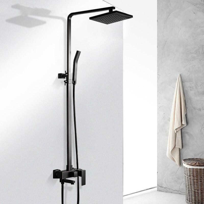 Высокая preesure черный набор для душа из нержавеющей стали настенные с 8 дюймов душем площадь Рука Душ в полной системы душ