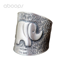 Vintage Solid 990 Sterling Silver Embossed Elephant Open Ring for Women Girls Adjustable Free Shipping
