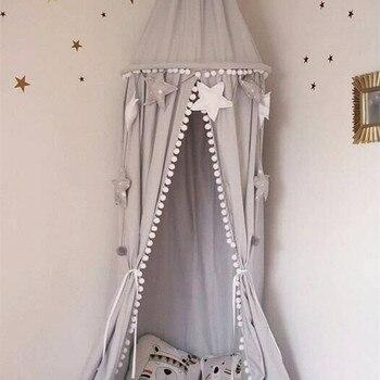 Bebê Estilo Nórdico Playroom Decor Dossel Branco Rosa Cinza Pendurado Cama de Dossel com Borla Bola Suporte Da Foto Da Princesa Quarto