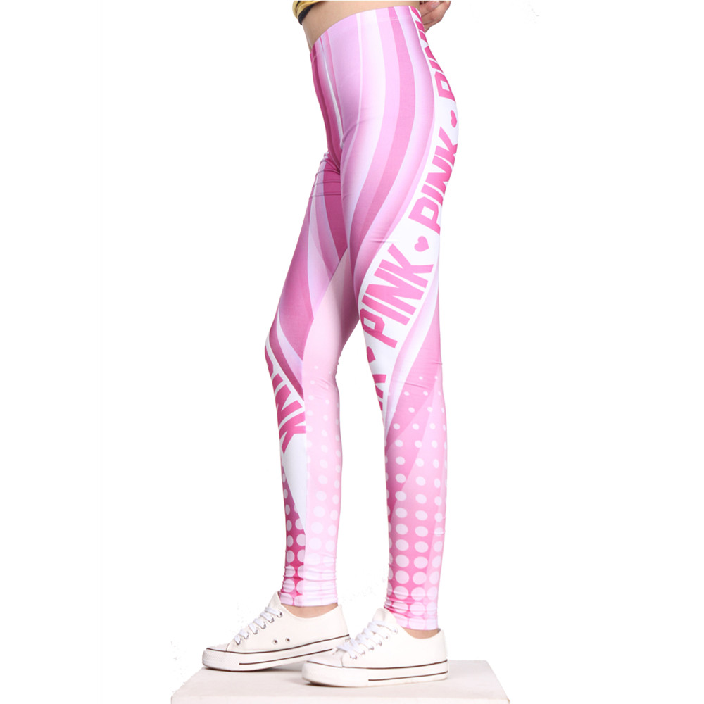 FCCEXIO 2019 Brands New Style Women Leggings Pink  Love 3D Printed Leggins Fitness Legging Sexy Slim High Waist Woman Pants