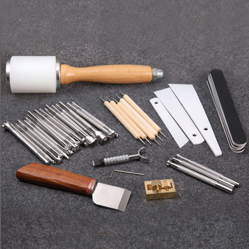 Leather Craft Carving Tools For Leather Printing Cutting Knife/Hammer/Leather Swivel Knife/Tool Storage Box Leather Staming Set