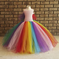Fluffy Rainbow Girls Dress Tulle Wings Colorful Girl Tutu Inspired costume Rainbow Birthday party Kids Dress for Girls PT235