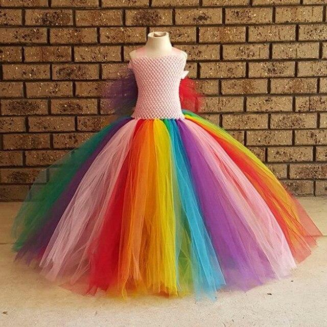 Fofo Asas Do Arco Meninas Vestido De Tule Menina Colorida Tutu traje Inspirado no Rainbow da festa de Aniversário Crianças Vestir para Meninas PT235