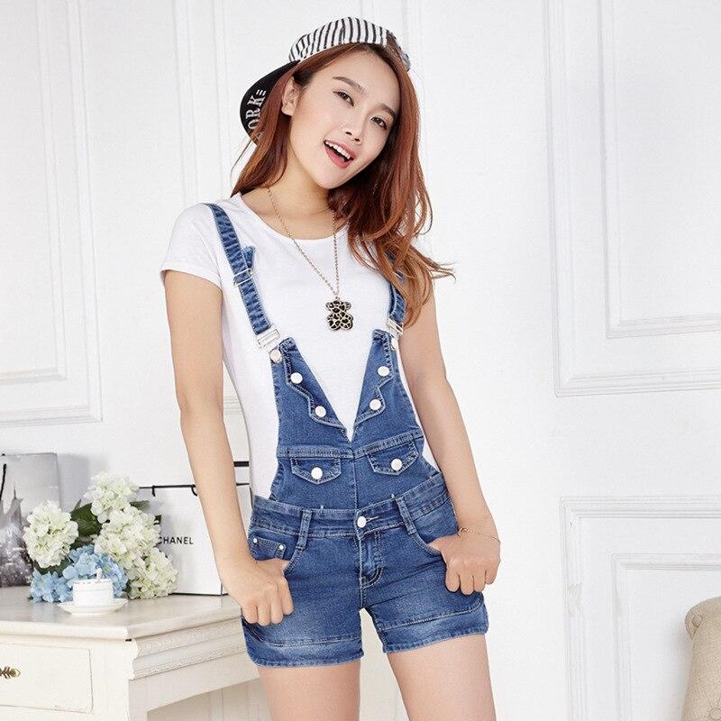 Летние джинсовые шорты свободные, большие размеры; тонкий цельный комбинезон, модные комбинезоны, брендовые джинсы на пуговицах - Цвет: Синий