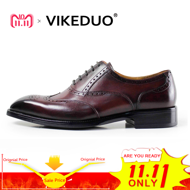 VIKEDUO 2018 Vintage Patina Men Oxford Shoes Handmade Custom Goodyear Welted Party Dress Shoe Male Genuine Leather Brogue Zapato maloneda custom men s wedding party shoes matching suits handmade genuine leather brogue dress shoes with goodyear welted