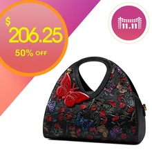 QISU Women's hand painted handbags Floral butterfly tote bag with shoulder strap
