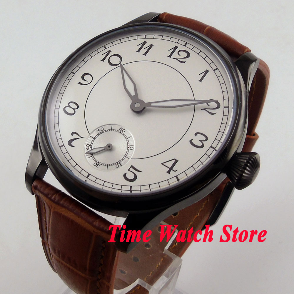 Parnis 44mm white sterile dial luminous Arabic numbers PVD case hand winding 6498 men's watch 288 цена и фото